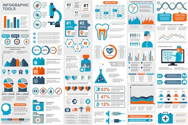 Medizinische infographic elementdaten-sichtbarmachungsvektor-designschablone