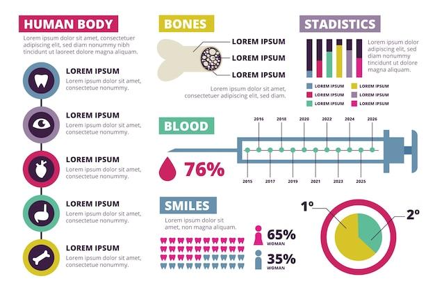 Medizinische infographik elemente sammlung