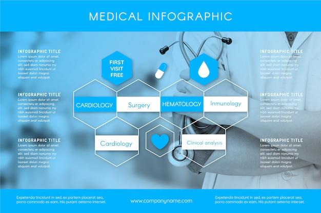 Medizinische infographik vorlage mit foto