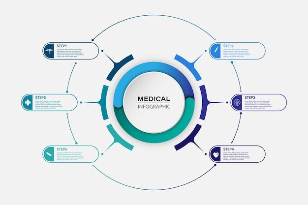 Medizinische informationsanzeige prozessdiagramm abstraktes element des diagrammdiagramms mit schritt, option, abschnitt oder prozess vektor-business-vorlage für die präsentation kreatives konzept für infografik