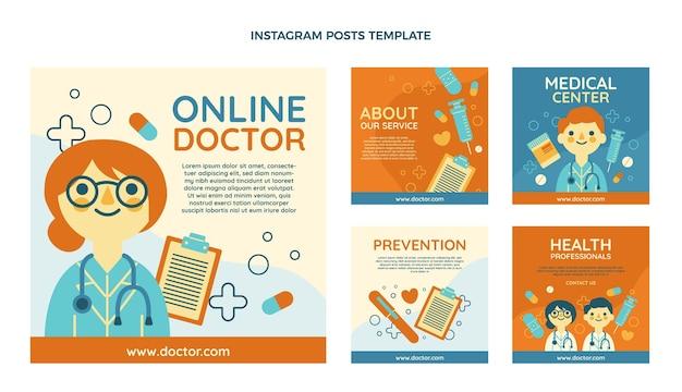Medizinische instagram-beiträge im flachen design