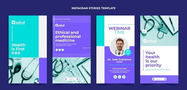 Medizinische instagram-geschichten im flachen design