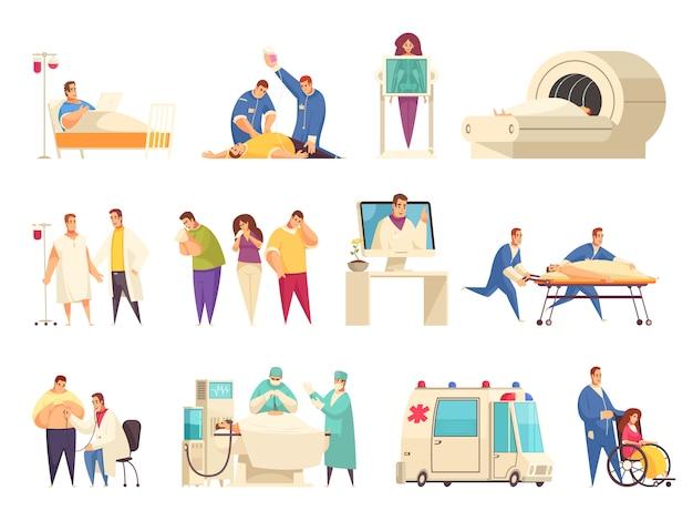 Medizinische isolierte ikone gesetzt mit er pflegeheim krankenhausaufenthalt reanimation mri beschreibungen vektor-illustration