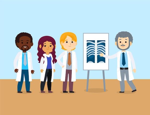 Medizinische karikaturkonferenz mit verschiedenen ärzten