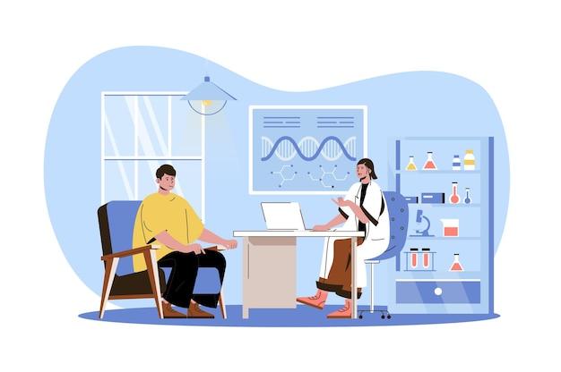 Medizinische klinik webkonzept arzt berät patienten im büro mann kam zur diagnose zum therapeuten