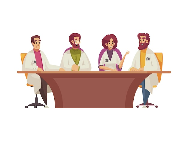 Medizinische konferenz mit ärzten, die am tischkarikatur sitzen