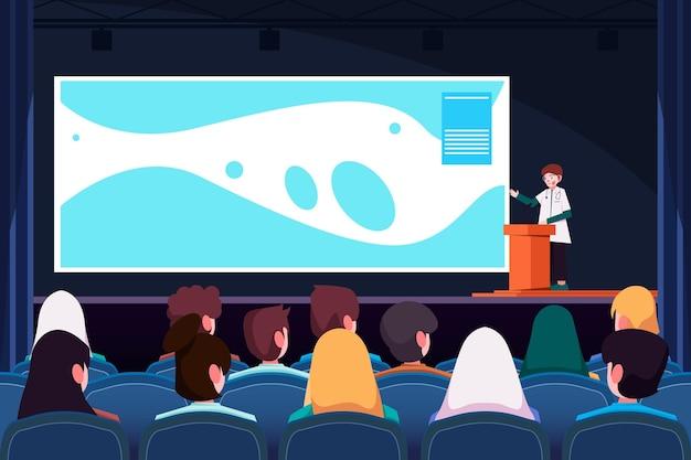 Medizinische konferenz mit flachem design