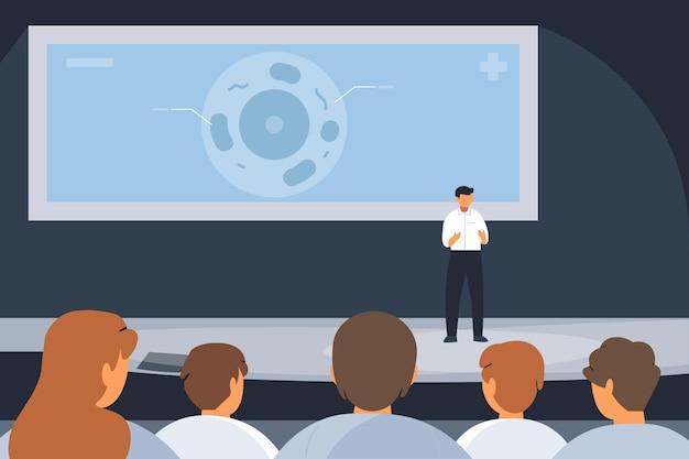Medizinische konferenz mit flacher illustration