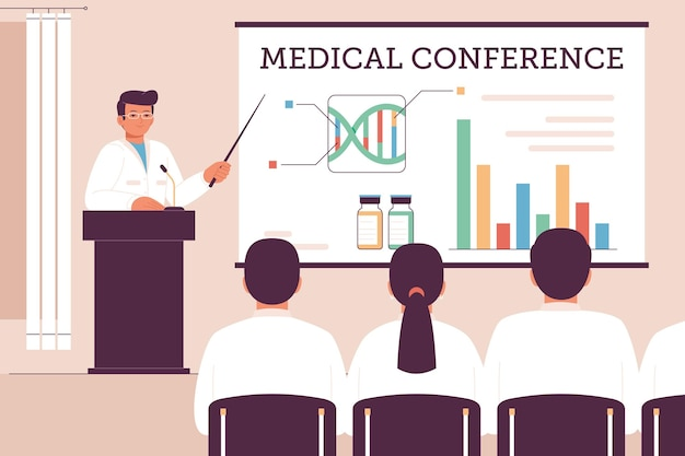 Medizinische konferenz mit organischem flachdesign