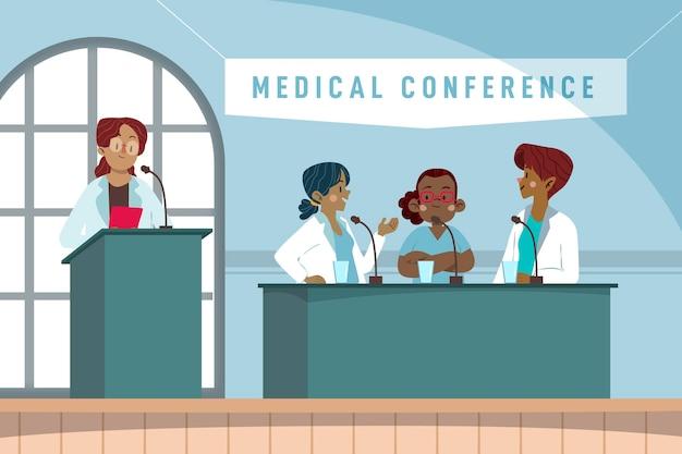 Medizinische konferenzillustration der karikatur