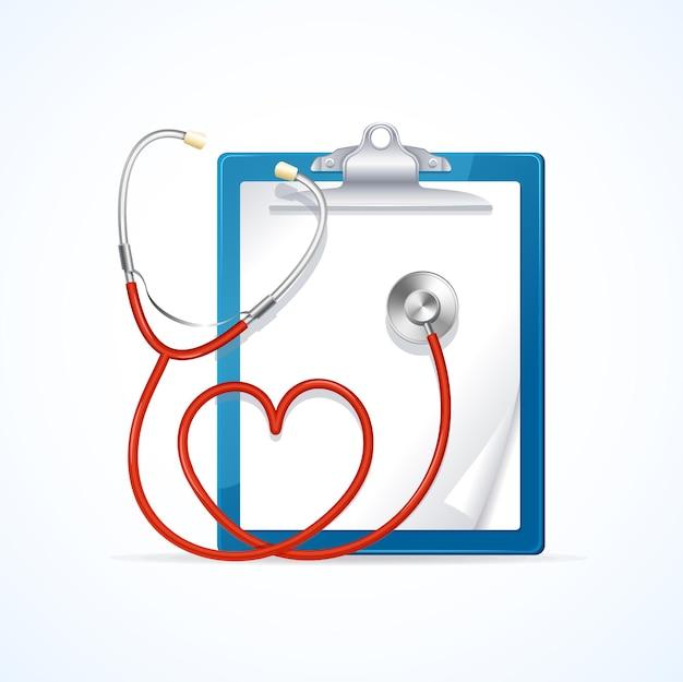 Medizinische konzeptdiagnose gesundheitswesen stethoskop in form von herzen und zwischenablage. vektor-illustration