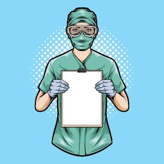 Medizinische krankenschwester hält zwischenablage