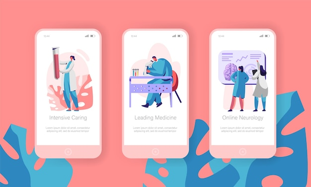 Medizinische labor mobile app seite onboard screen set.