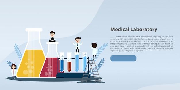 Medizinische laborforschung mit wissenschaftsglasrohrillustrationskonzept.