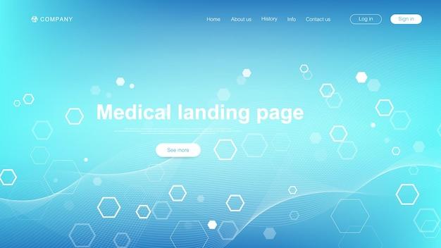 Medizinische landing page template-design. abstrakte gesundheitswesen-banner-vorlage. asbtract wissenschaftlicher hintergrund mit sechsecken. innovationsmuster. vektor-illustration.