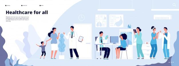 Medizinische landingpage. online-klinische beratung mit verschiedenen ärzten.