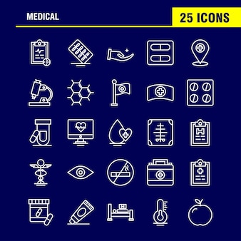 Medizinische linie icons set