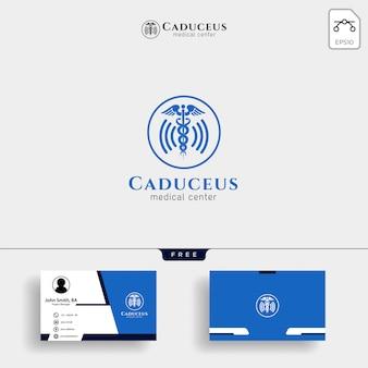 Medizinische logo vorlage mit visitenkarte