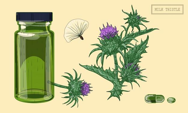 Medizinische mariendistelpflanze und grünes glasfläschchen