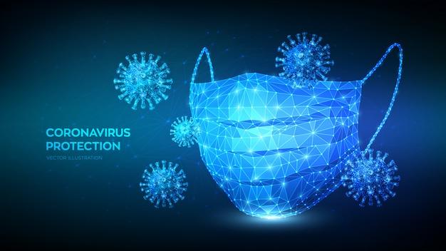 Medizinische maske. abstrakte niedrige polygonale schützende medizinische gesichtsmaske und viruszellen. stoppen sie den ausbruch von coronavirus 2019-ncov.