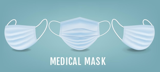 Medizinische maske banner mit minze hintergrund