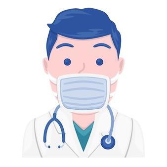 Medizinische maske emoji doktor gesicht. design art trendy kommunikation. chat-elemente. medizinischer virenschutz.