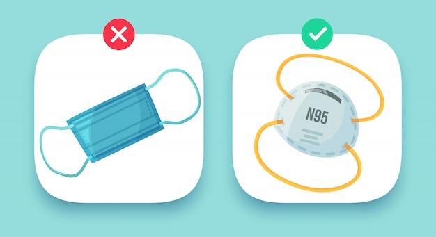 Medizinische masken gesetzt. industrielle schutzstaubmaske, stadtluftverschmutzungsschutzvorrichtung abbildung