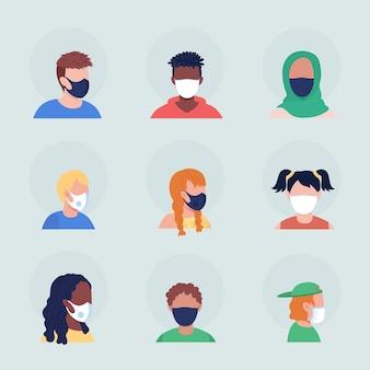 Medizinische masken ohne falten, halbflacher farbvektor-charakter-avatar-set. porträt mit atemschutzmaske in vorder- und seitenansicht. isolierte moderne cartoon-stil-illustration für grafikdesign und animationspaket