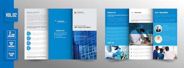 Medizinische minimale dreifachgefaltete broschürendesignschablone