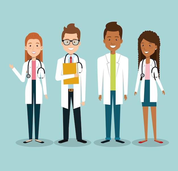 Medizinische mitarbeitergruppe avatare vektor-illustration design