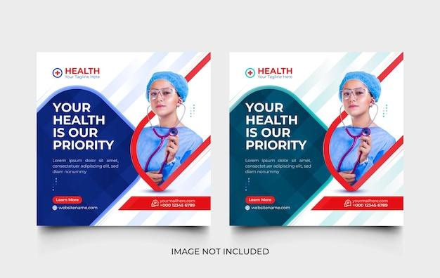 Medizinische moderne social-media-post- und web-banner-vorlage oder flyer-vorlagenset