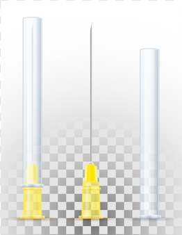 Medizinische nadel für spritze für injektionslagerillustration lokalisiert auf weißem hintergrund