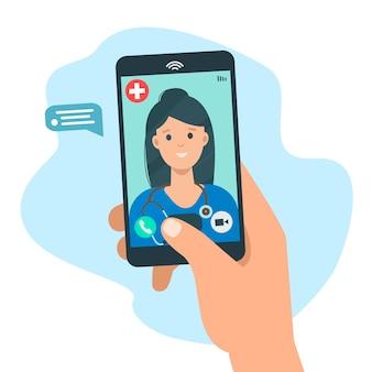 Medizinische online-beratung und unterstützung hand, die smartphone-bildschirm mit weiblicher therapeutin hält
