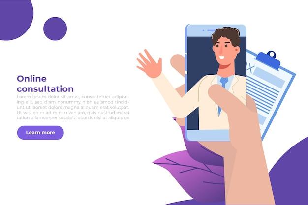 Medizinische online-konferenz, online-konzept für doktorentfernte beratung. flache vektorillustration