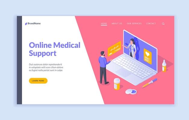 Medizinische online-unterstützung vektor-isometrisches banner