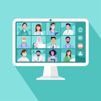 Medizinische online-videokonferenz mit einem team von ärzten und krankenschwestern