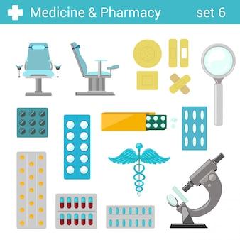 Medizinische pharmazeutische krankenhausausrüstungsillustrationen der flachen art eingestellt.