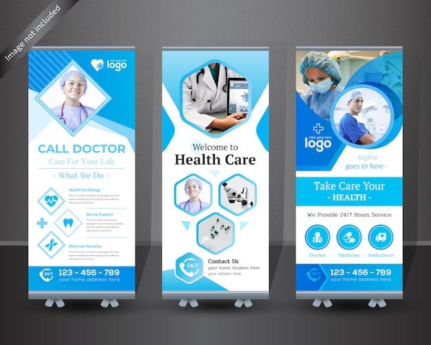 Medizinische rollen sie oben fahnendesign für krankenhaus