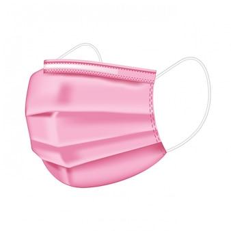 Medizinische rosa maske lokalisiert auf weißem hintergrund. schutz vor arztmaske und koronavirus. realistische medizinische schutzmaske vorderseite. medizinische maske für ärzte und patienten.
