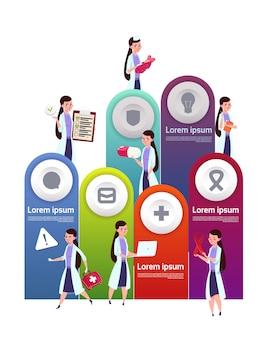 Medizinische schablone infographic-elemente mit team von ärztinnen
