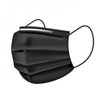 Medizinische schwarze maske lokalisiert auf weißem hintergrund. schutz vor arztmaske und koronavirus. realistische medizinische schutzmaske vorderseite. medizinische maske für ärzte und patienten.