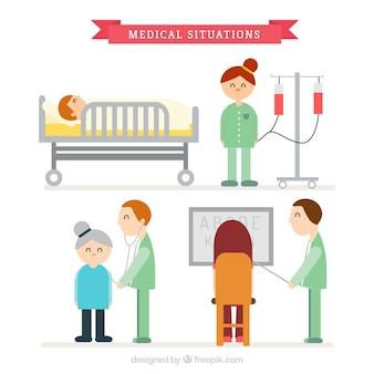 Medizinische situationen mit schönen charaters