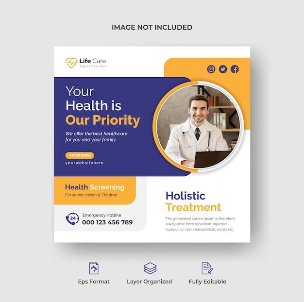 Medizinische social-media-banner oder instagram-post-design-vorlage premium-vektor