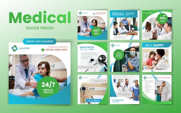 Medizinische social media post-vorlage mit grünem farbthema