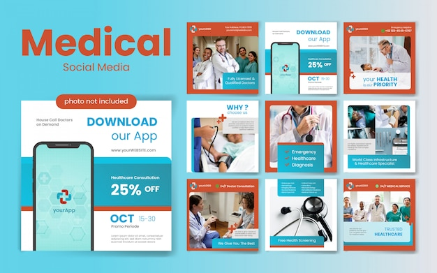 Medizinische social media post-vorlage mit rotem und blauem farbthema