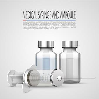 Medizinische spritze und ampulle, objekte auf weißem hintergrund. vektor-illustration