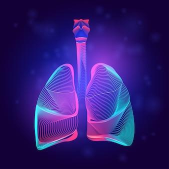 Medizinische struktur der menschlichen lunge. umriss der körperteilorgananatomie im 3d-linienkunststil auf dem abstrakten neonhintergrund