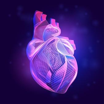 Medizinische struktur des menschlichen herzens. umriss der körperteilorgananatomie im 3d-linienkunststil auf dem abstrakten neonhintergrund