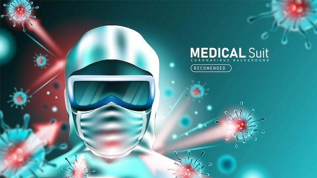 Medizinische suite oder schutzkleidung zum schutz vor coronavirus 2019- ncov