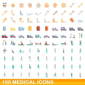 Medizinische symbole eingestellt. karikaturillustration von medizinischen ikonen gesetzt auf weißem hintergrund